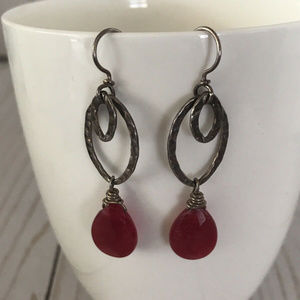 Jewelry - Red Beaded & Silver Plated Dangle Earrings
